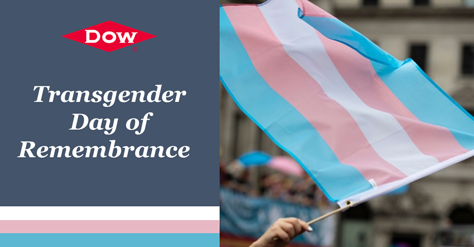 Transgender Remembrance Day graphic with flag