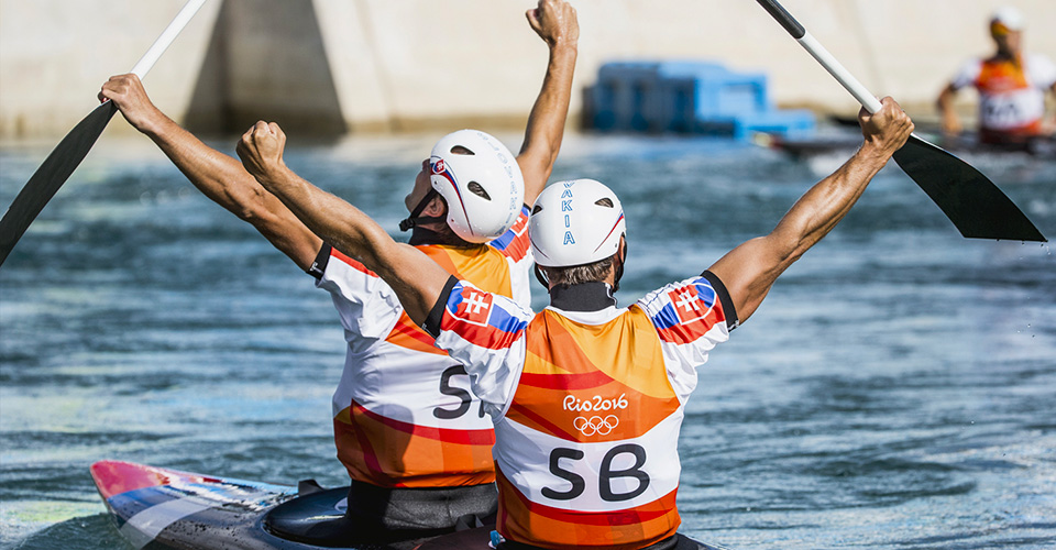Olympic kayakers celebrate