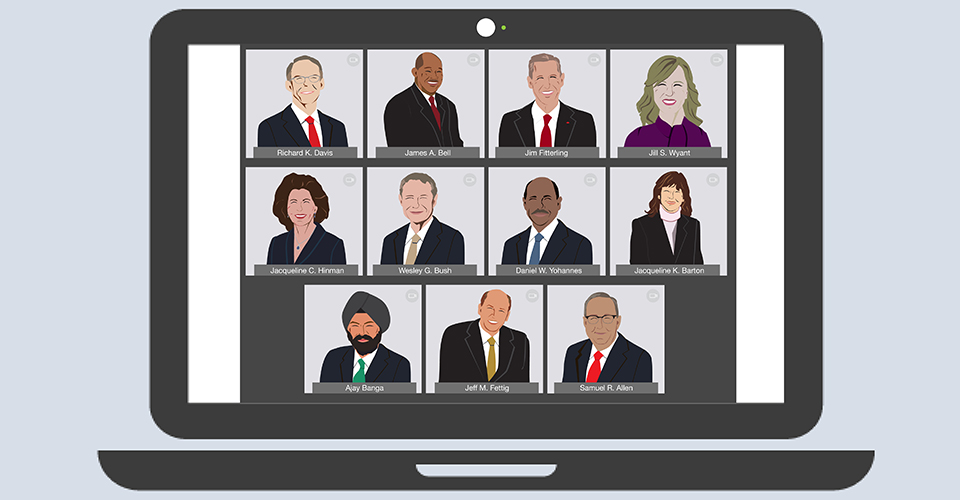Illustration of virtual board meeting