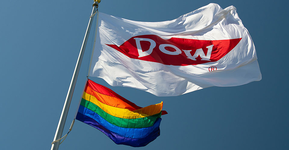 Dow and Pride Flags at Auburn Site in Michigan
