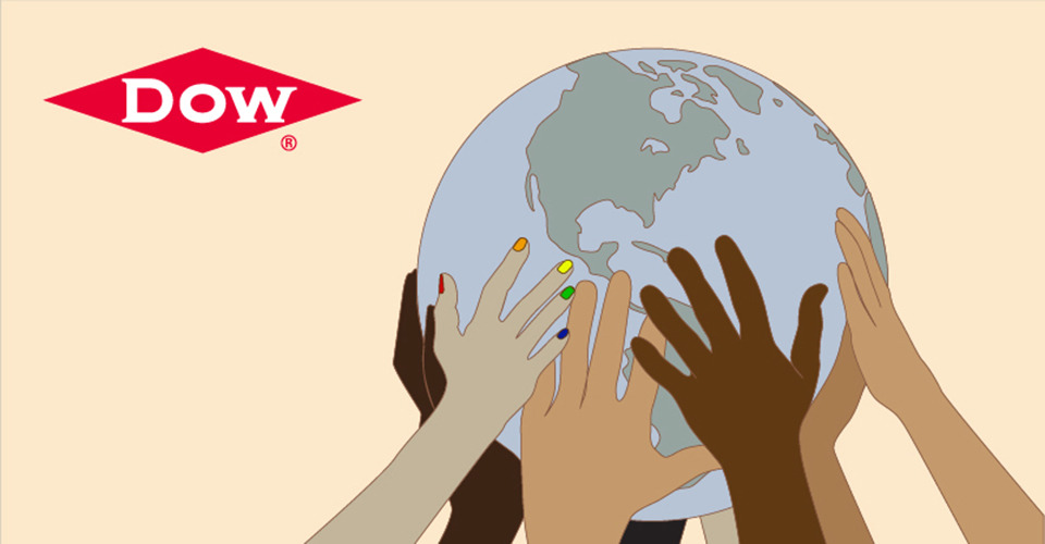 Graphic showing diverse array of hands supporting a globe