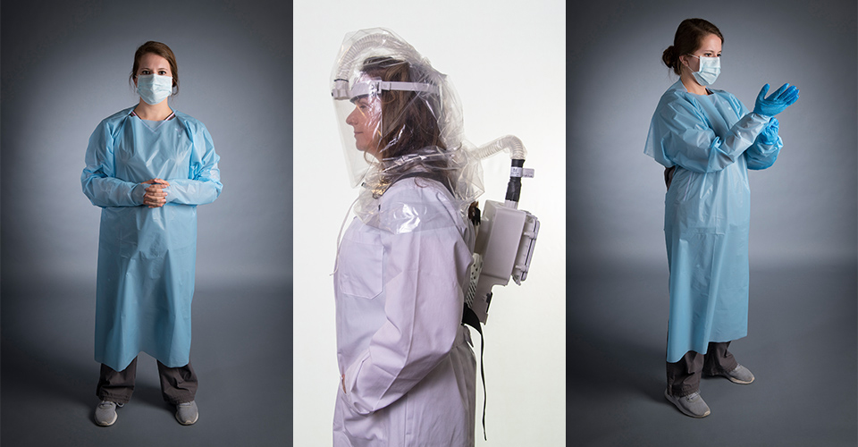 Side by side images of healthcare workers in protective masks, gowns and gloves and demonstrating a powered air purifying respirator