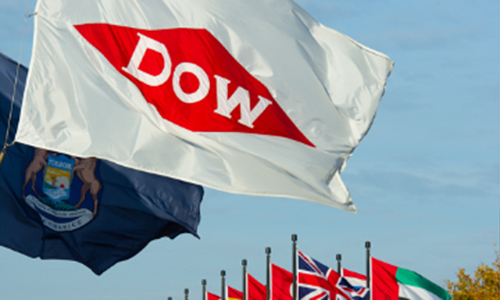 Dow logo among various nations flags