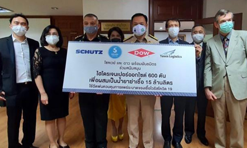 Dow and Solvay employees donating disinfectant