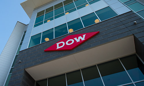 Dow logo on exterior of building