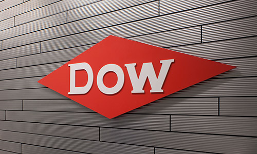 Dow logo on interior building wall